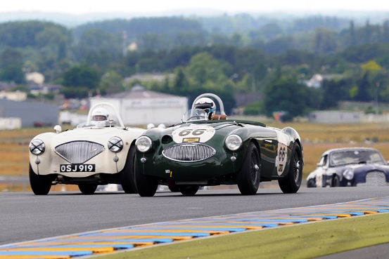 The JD Classics 1955 Austin Healey 100S won both Race 1 and 2 in Plateau (Group) 3
