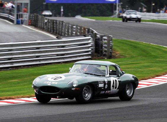 Alex Buncombe driving the E-Type to a pole position