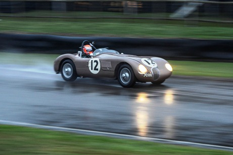 The ex-Fangio C-Type driven by Alex Buncombe and John Young to an impressive victory in the Freddie March Memorial Trophy