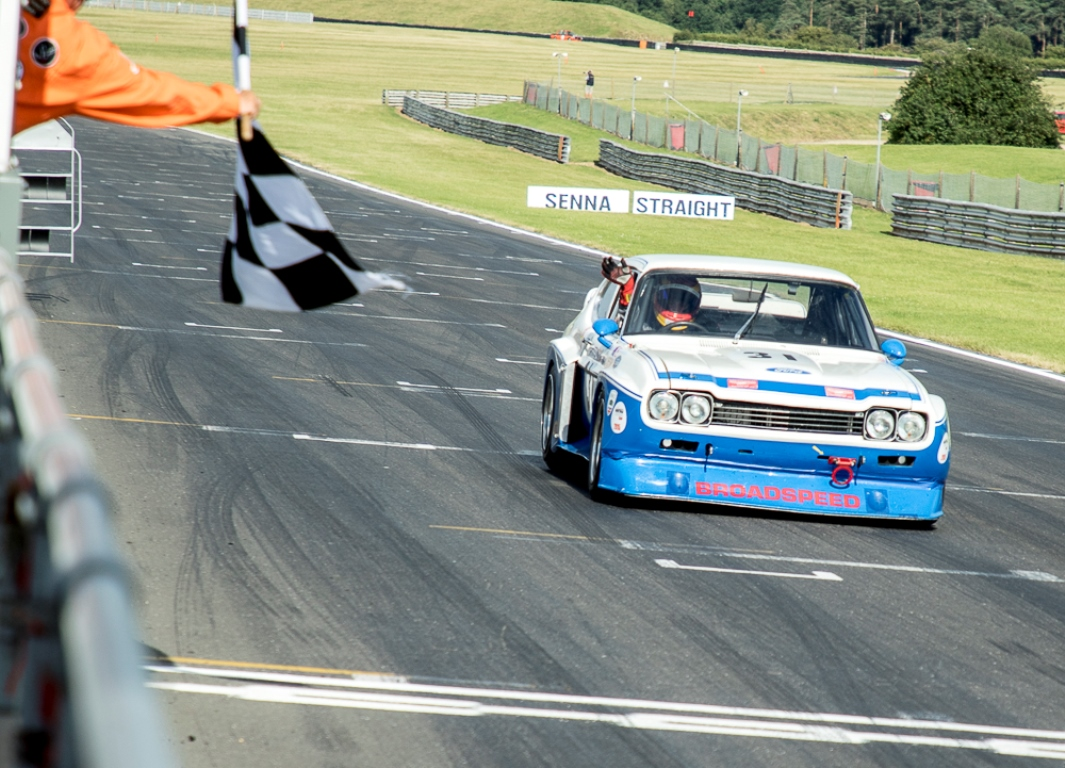 A lights to flag lead victroy for the JD Classics Ford Cologne Capri of Chris Ward