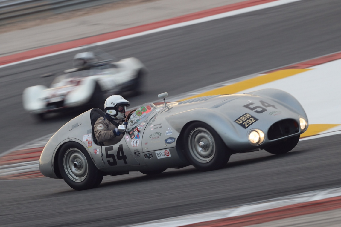Derek Hood was first to take to the drivers seat of the Cooper T33 in the 2 hour MRL 50s Sports Car race.