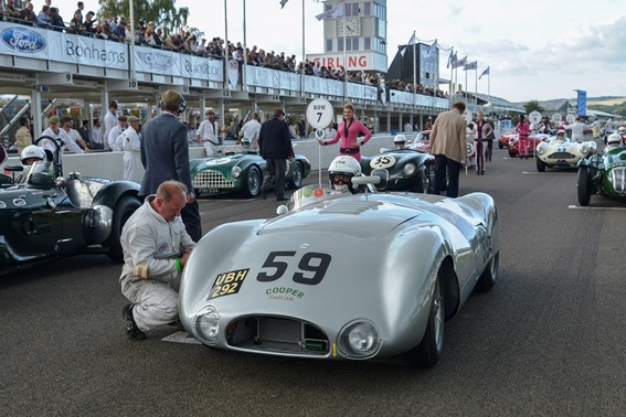 The 1954 Cooper T33 of Derek Hood takes its place on the grid ahead of Sunday's Freddie March Memorial Trophy race