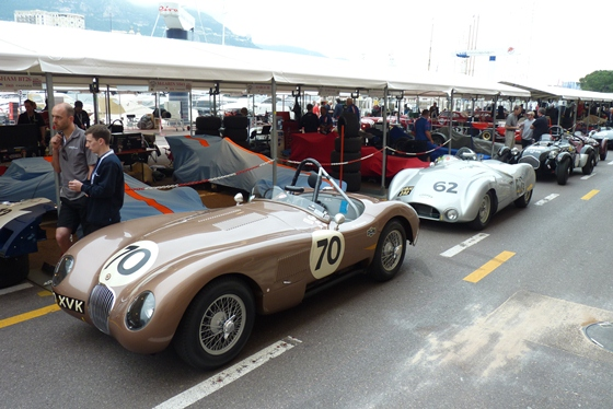 The Jaguar Heritage Racing C-Type and JD Classics Cooper T33 line up ahead of Saturday's double qualifying session