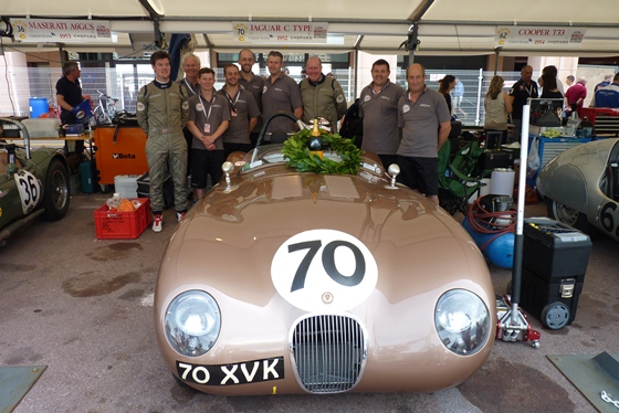 The team celebrate the Jaguar Heritage Racing C-Type's second consecutive win at the Monaco Historique