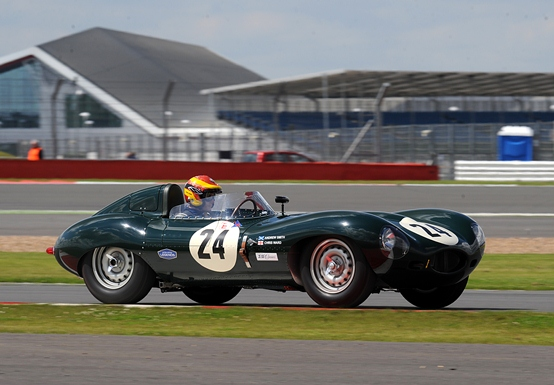 The D-Type of JD Classics drivers Chris Ward and Andrew Smith participating in the Stirling Moss Trophy Race.