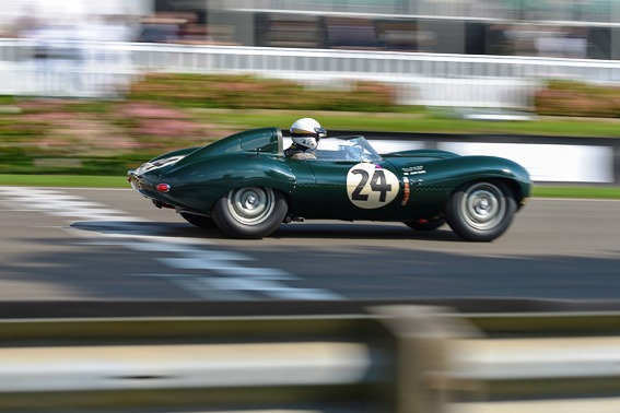 The Jaguar D-Type of John Young recovered from an early spin to finish in 6th place within the Lavant Cup