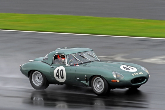 Our Lightweight E-Type braves the typically English weather to take a double victory in the E-Type Challenge Race