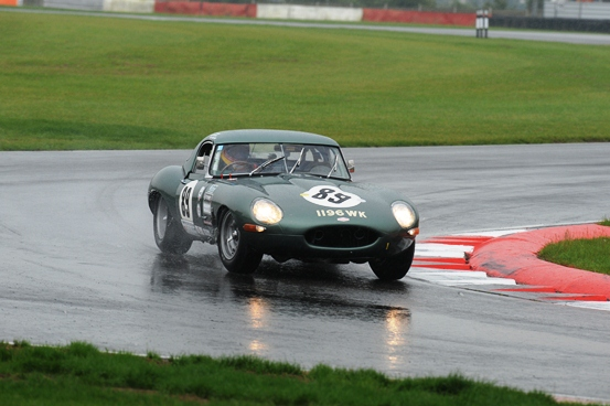 With a heavy downpour of rain hampering many competing cars, the JD Classics E-Type maintained a steady lead throughout.