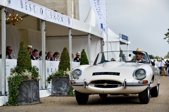 The 1961 Jaguar E-Type is presented to the judges at this year's Salon Prive