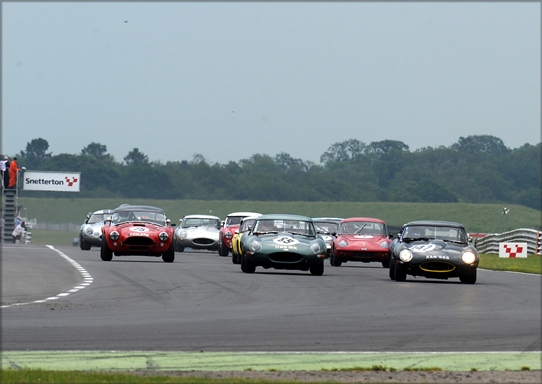The 34 car strong field storm away from the grid in  Snetterton's famous 3-Hour Race