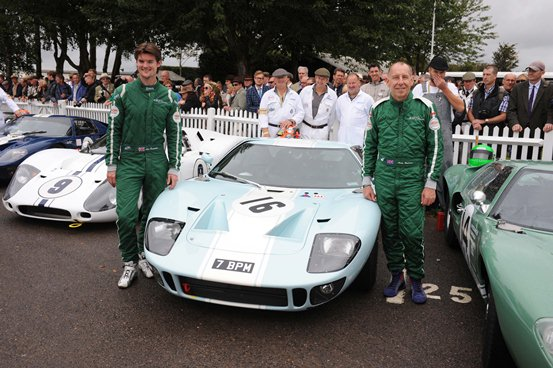 Drivers Alex Buncombe and Andy Wallace pose next to the JD Classics Ford GT40