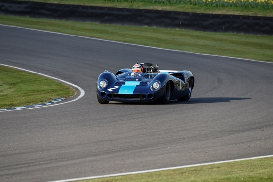 The Lola T70 Spyder of Alex Buncombe ran an impressive race to finish 3rd place in the weekend's Bruce McLaren Trophy