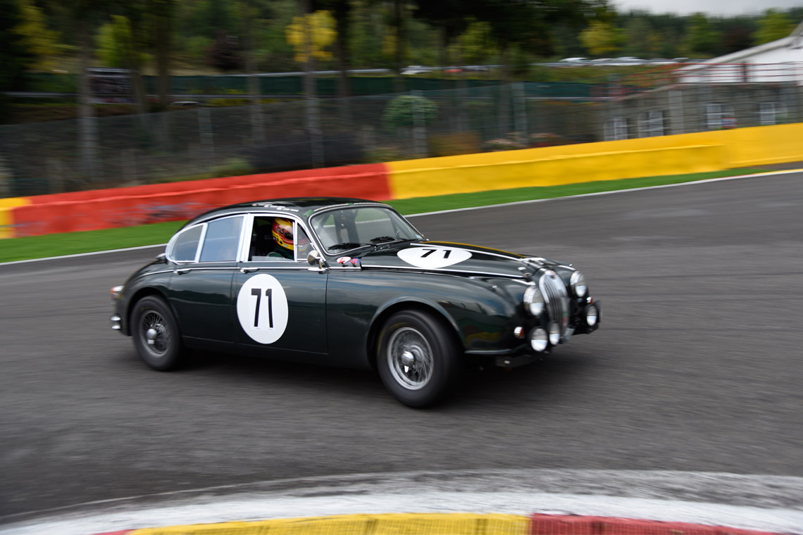 The Jaguar MKII of Derek Hood, Chris Ward and John Young drove from 92nd on the grid to finish in 30th place in the famour Spa Six Hour race