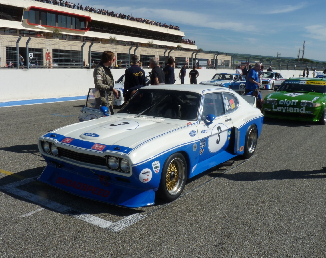 The JD Classics Ford Cologne Capri lined up on pole ahead of Sunday afternoon's race at Paul Ricard
