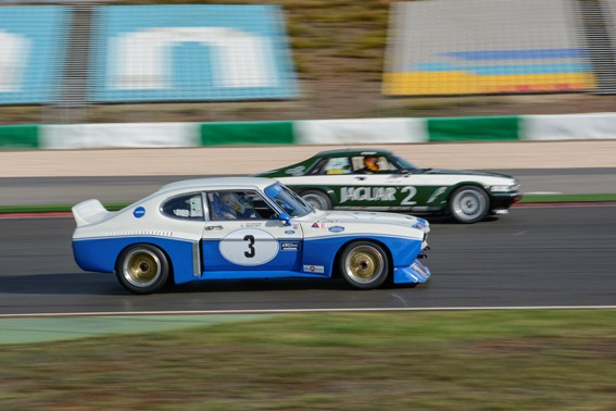 The JD XJS and Cologne Capri dominating the Historic Touring Car Challenge Race