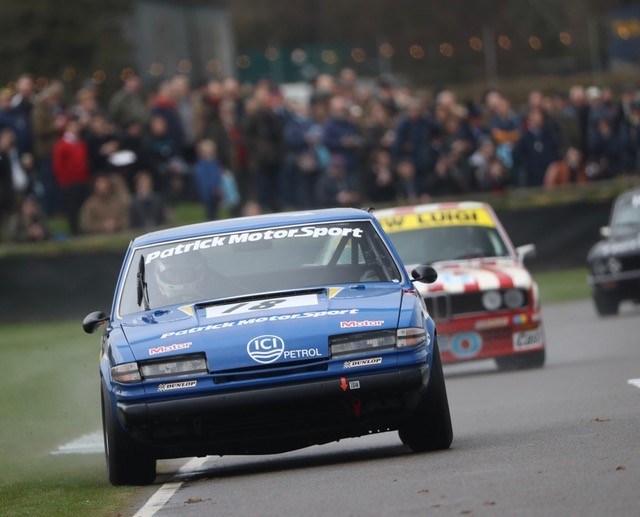 The Patrick Motorsport Rover SD1 of Chris Ward and Gordon Shedden battled difficult weather conditions to qualify 8th in the Gerry Marshall Trophy.