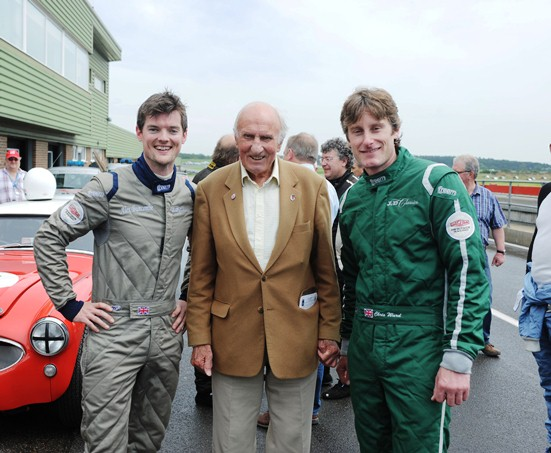 Chris Ward and Alex Buncombe receive their winners trophies from motor racing legend Jack Sears, of whom this year's 3-Hour Race paid homage.