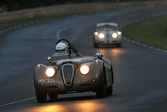 The ex-Roy Salvadori XK120 takes on the Le Mans circuit in the dark