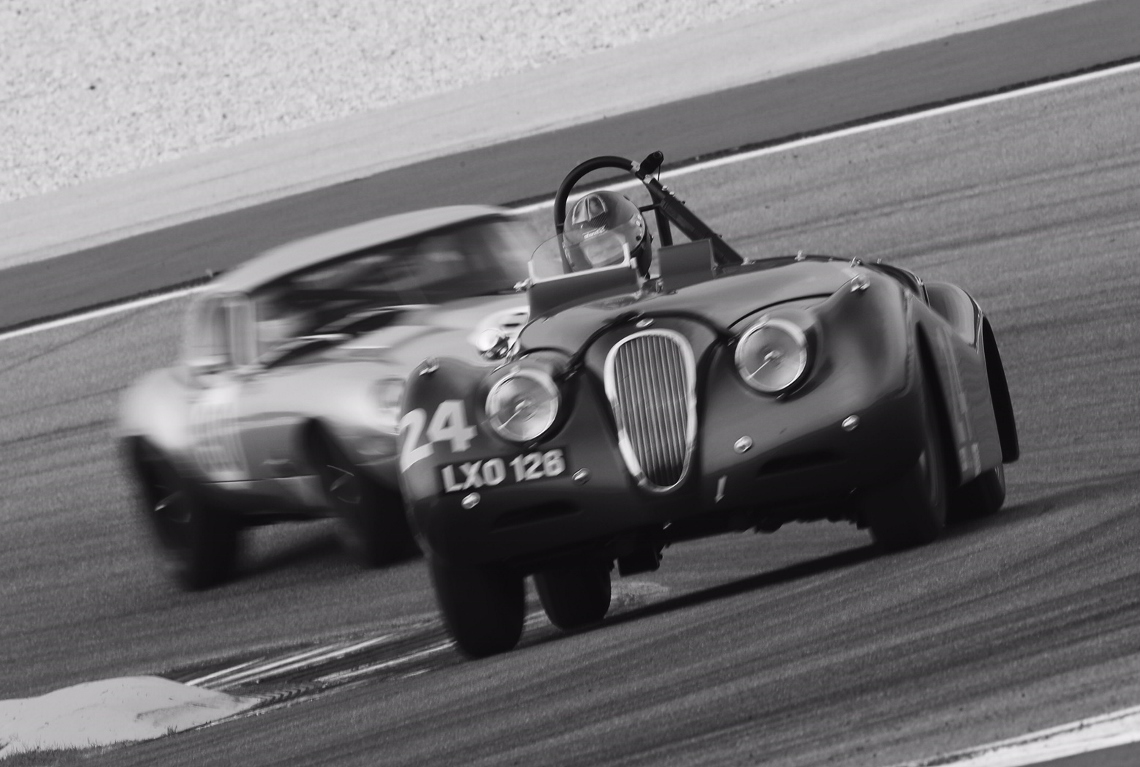 The Ecurie Ecosse XK120 of Steve and Josh Ward ran well to qualify in 18th place for the MRL 50s Sports Car race.